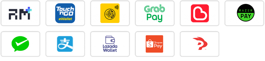 Revenue Monster Supported Ewallet Payment Methods Touch n Go, Maybank QR Pay, Grab Pay, Boost, Razer Pay, Wechat Pay, Alipay, Lazada Wallet, Shopee Pay, Presto Pay