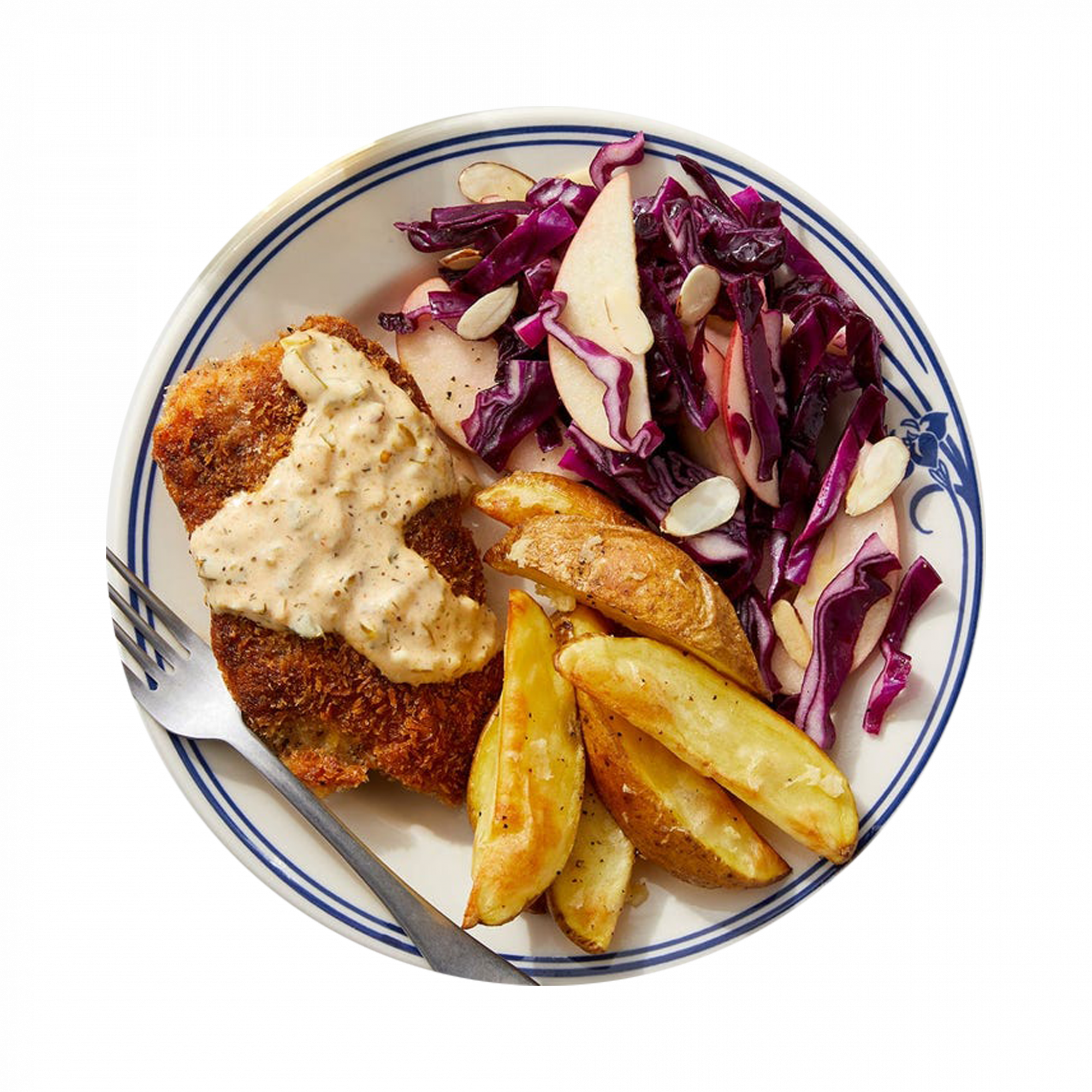 Baked Cajun Fish & Roasted Potatoes with Apple Cabbage Slaw
