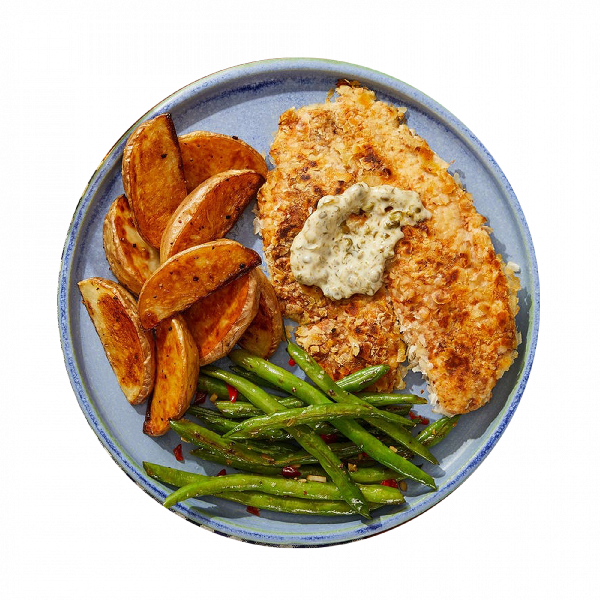 Baked Crispy Tilapia & Caper Mayo with Salt & Vinegar Potatoes and French Beans