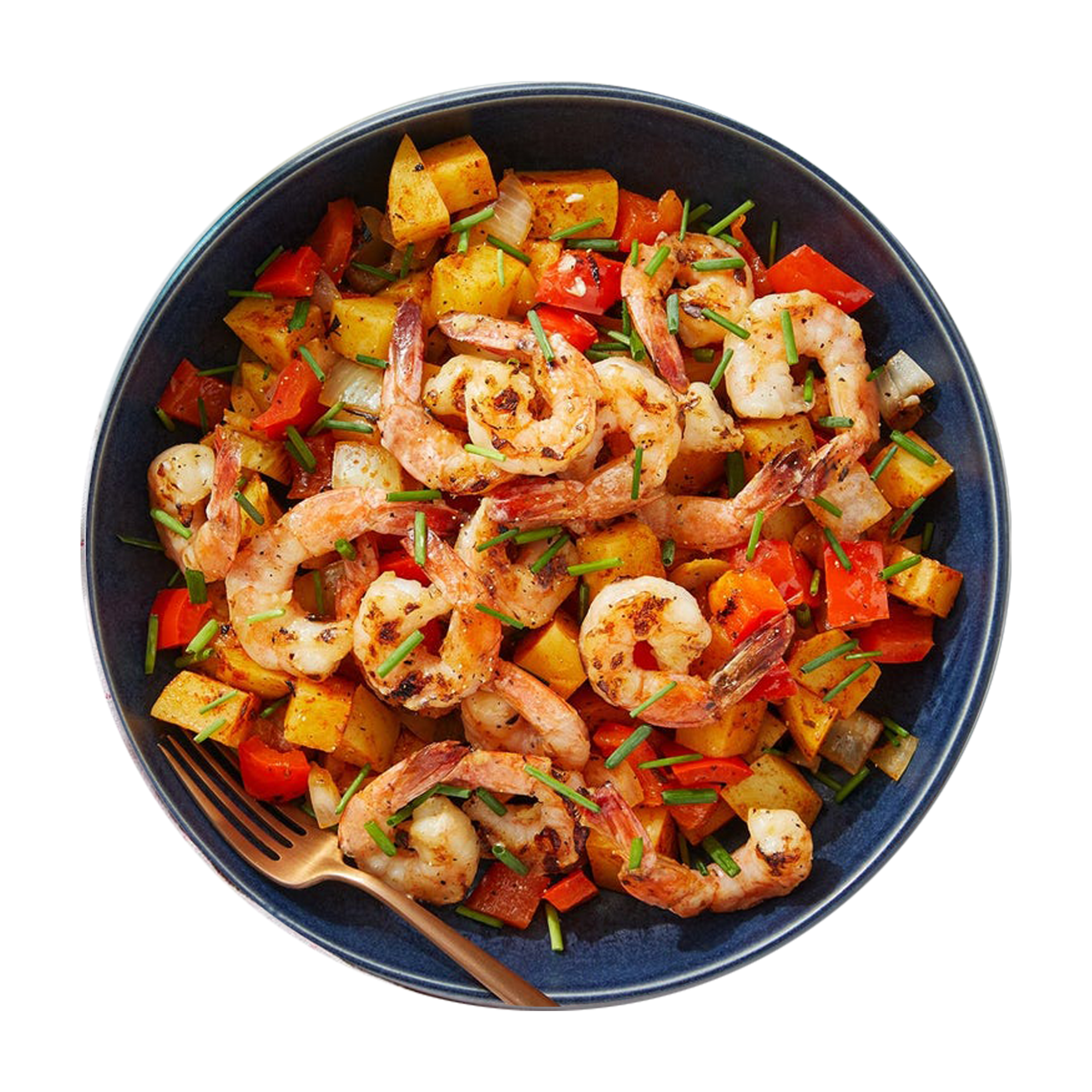 Grilled Garlic Shrimp & Spanish-Style Spaghetti with Onion & Bell Pepper