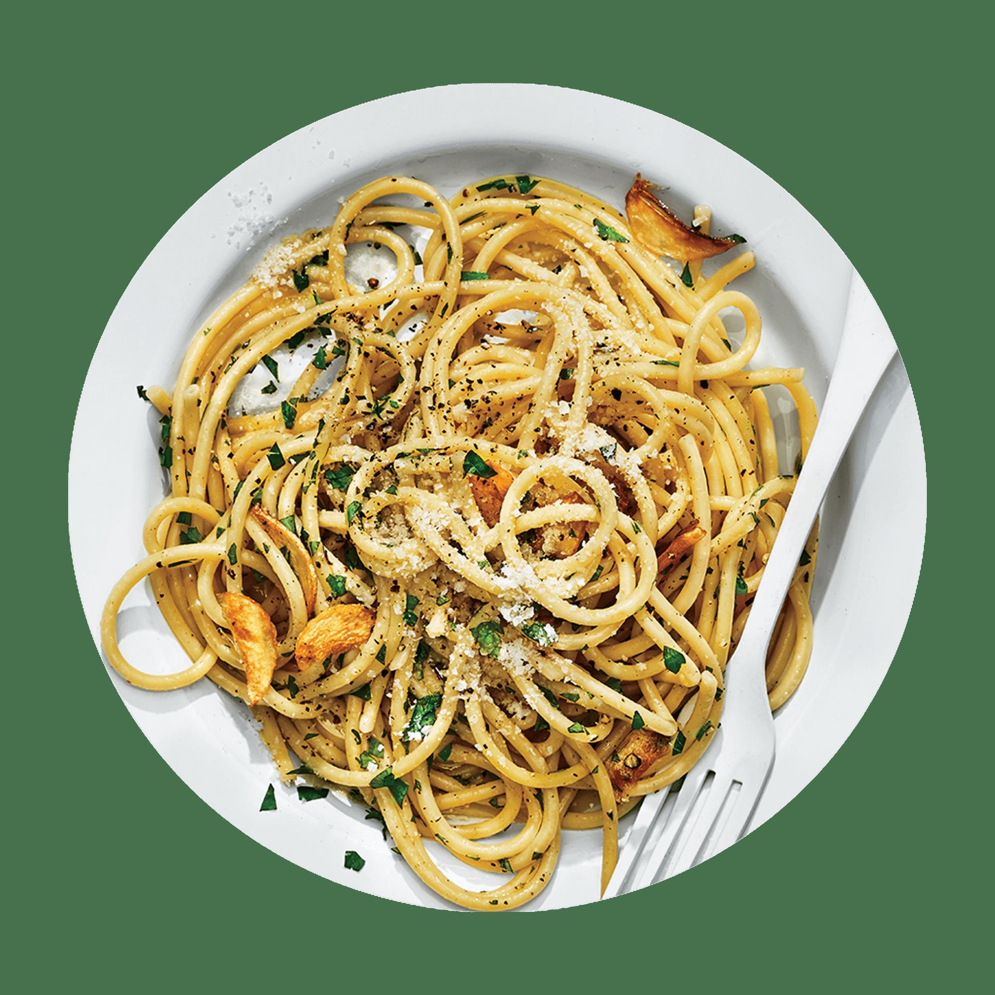 Italian Aglio Olio Spaghetti with Honey-Lime Chicken Breast