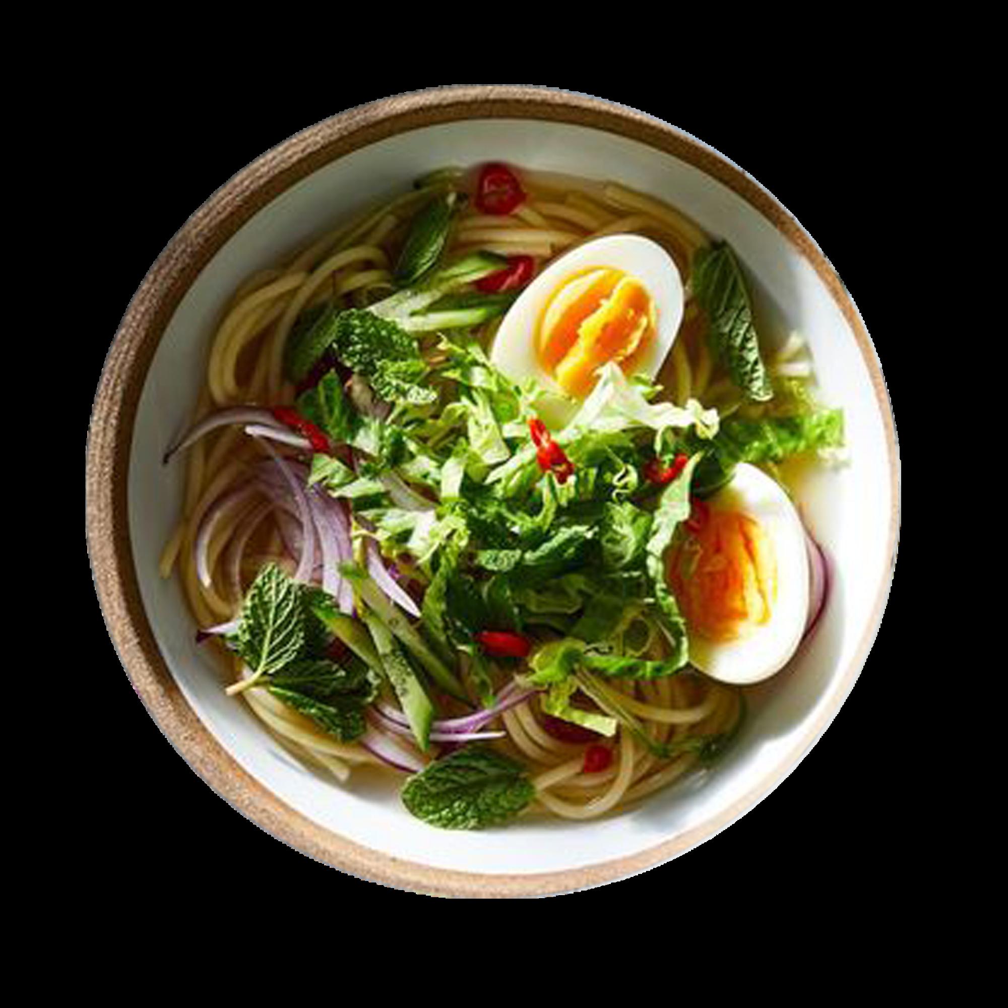 Malaysian Laksa Spaghetti with Salmon Flakes & Egg