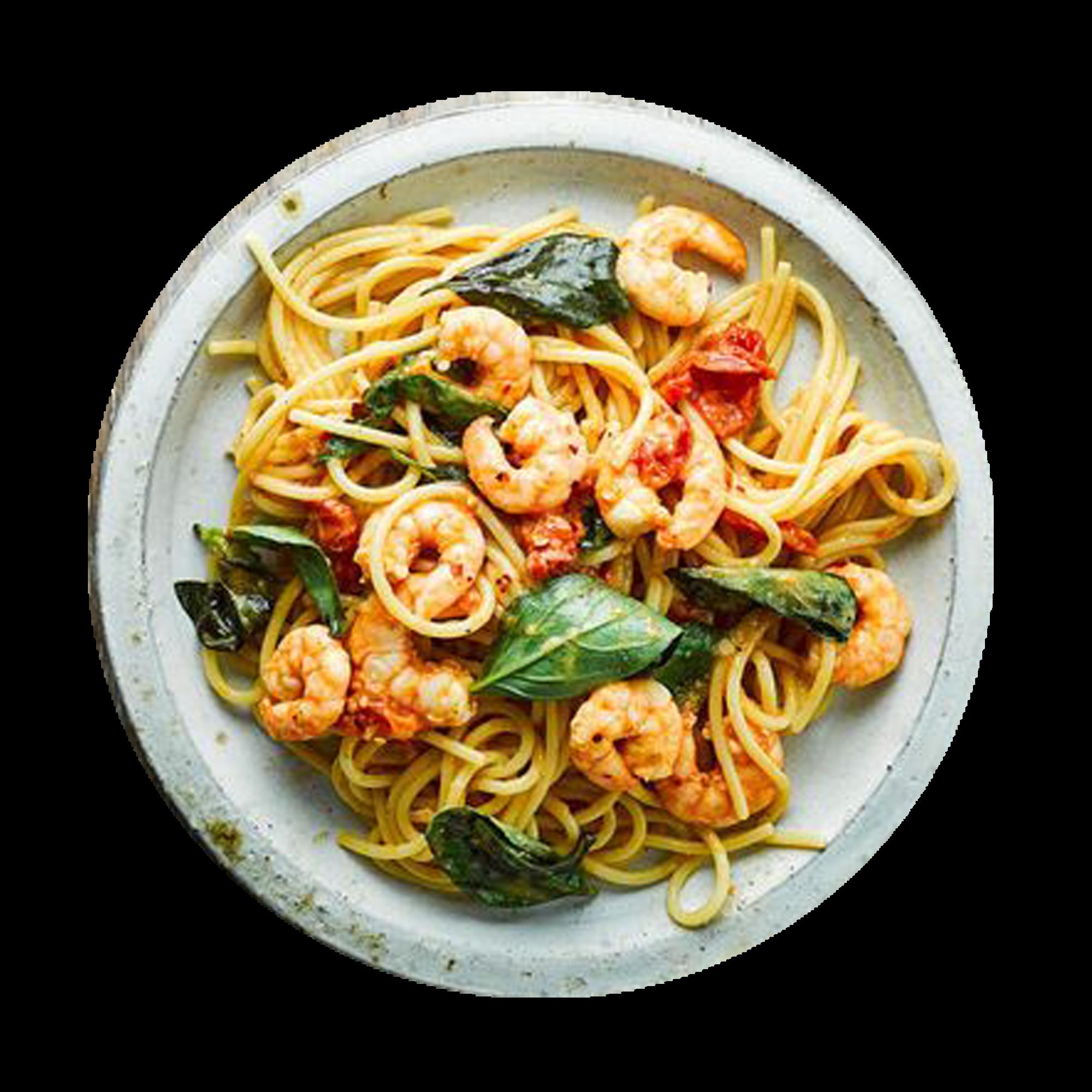 Prawn Aglio Olio Spaghetti with tomato, chilli and basil