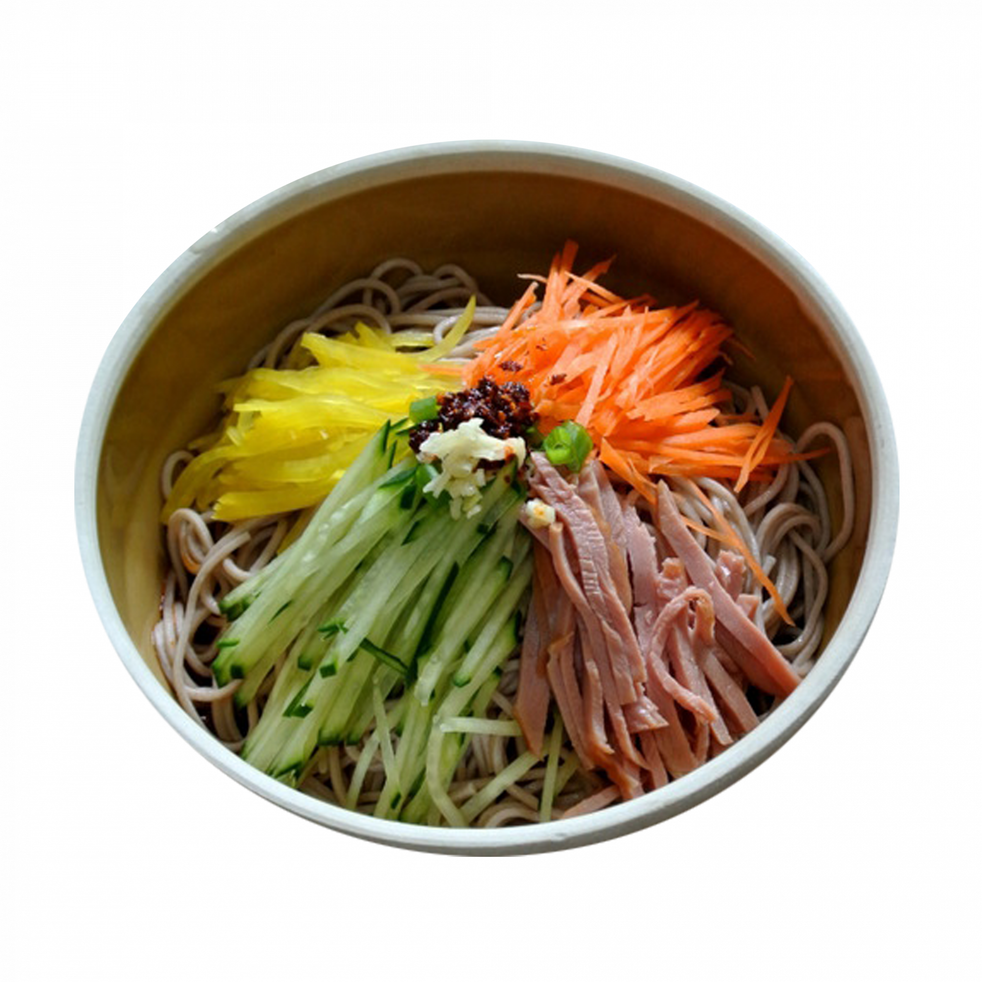 Sesame Glass Noodles with Smoked Duck Breast, Egg Floss and Veggies