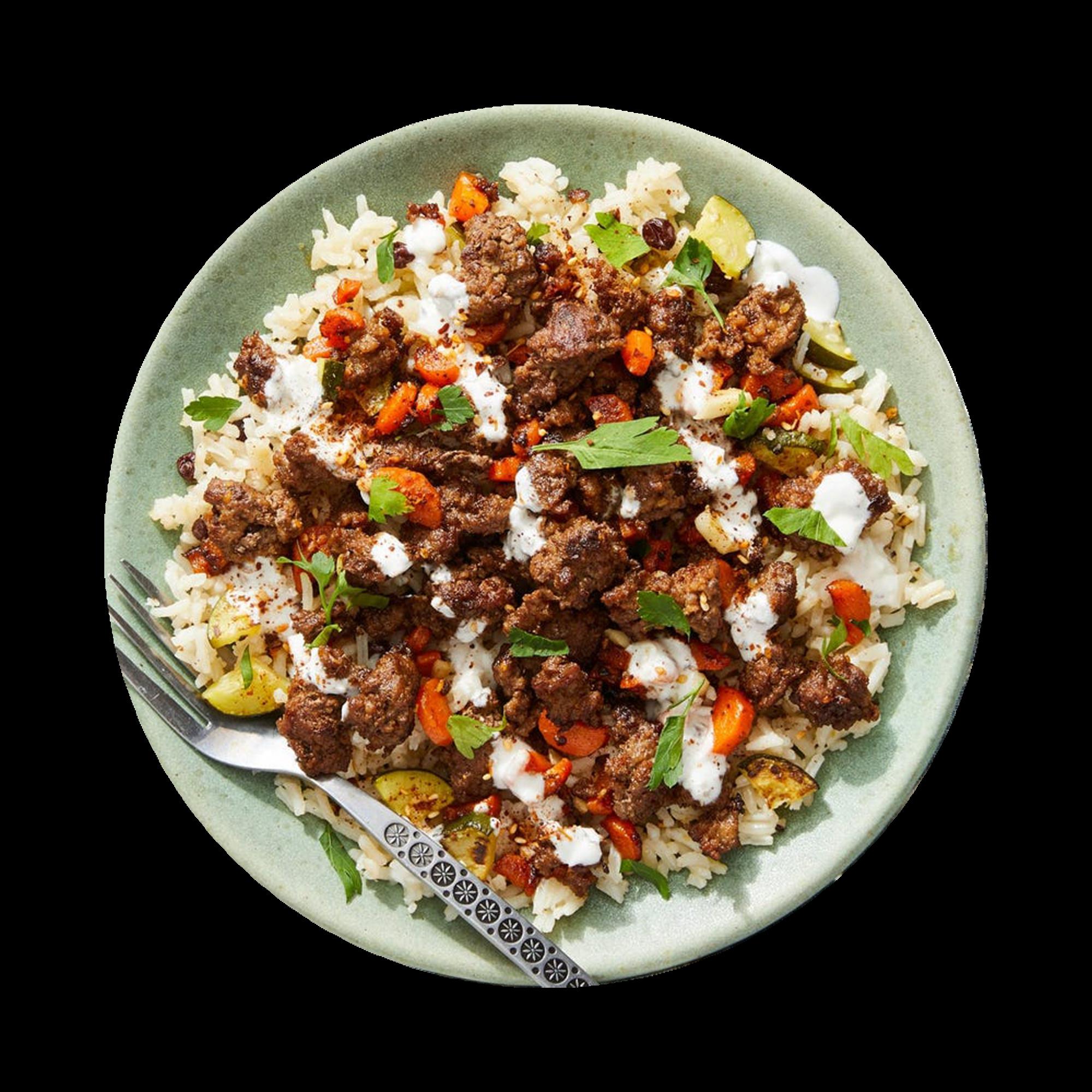 Za'atar Minced Chicken with Carrot Zucchini Rice & Yoghurt